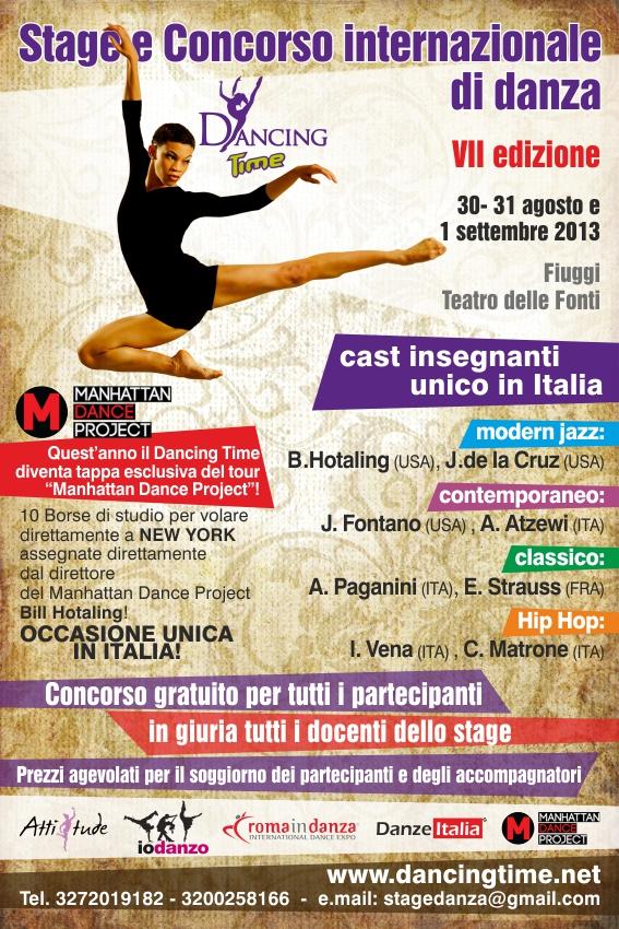 """Stage e Concorso Internazionale di danza """"Dancing Time"""" VII^ edizione"""