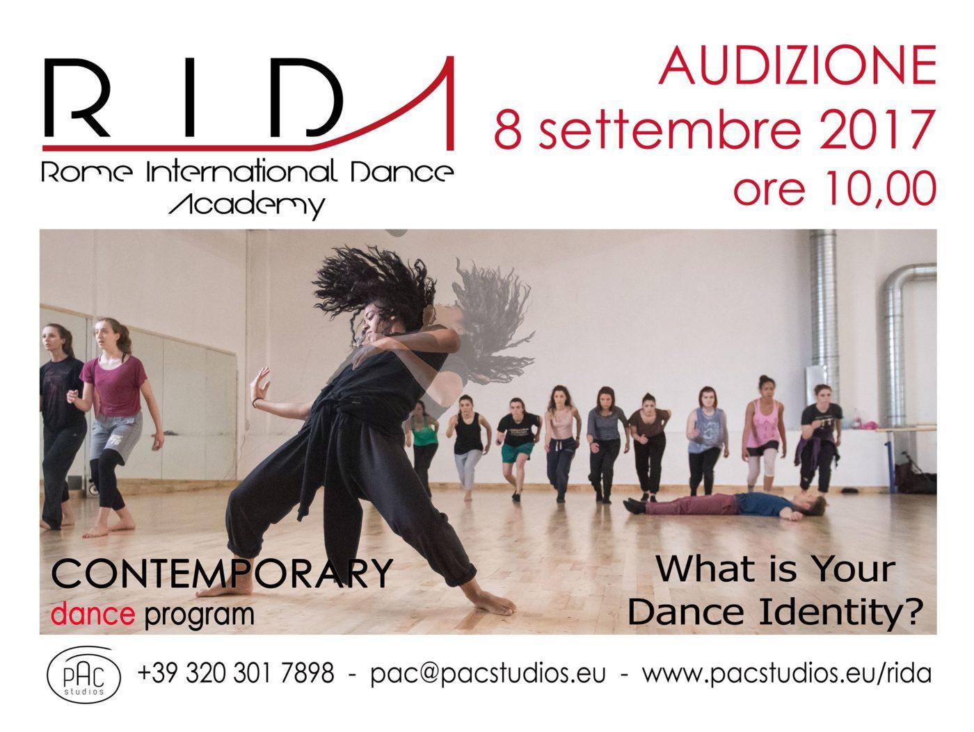 R.I.D.A., audizione per biennio di alta formazione professionale danza contemporanea.