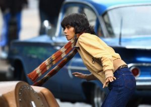 GLASGOW, SCOTLAND - SEPTEMBER 16: Halle Berry on set of Holywood film Cloud Atlas being filmed in Glasgow on September 16, 2011 in Glasgow, Scotland. The city council has closed off a series of streets as Glasgow prepares to double for San Francisco for a scene which will include Hale Berry and Hugo Weaving. (Photo by Jeff J Mitchell/Getty Images)